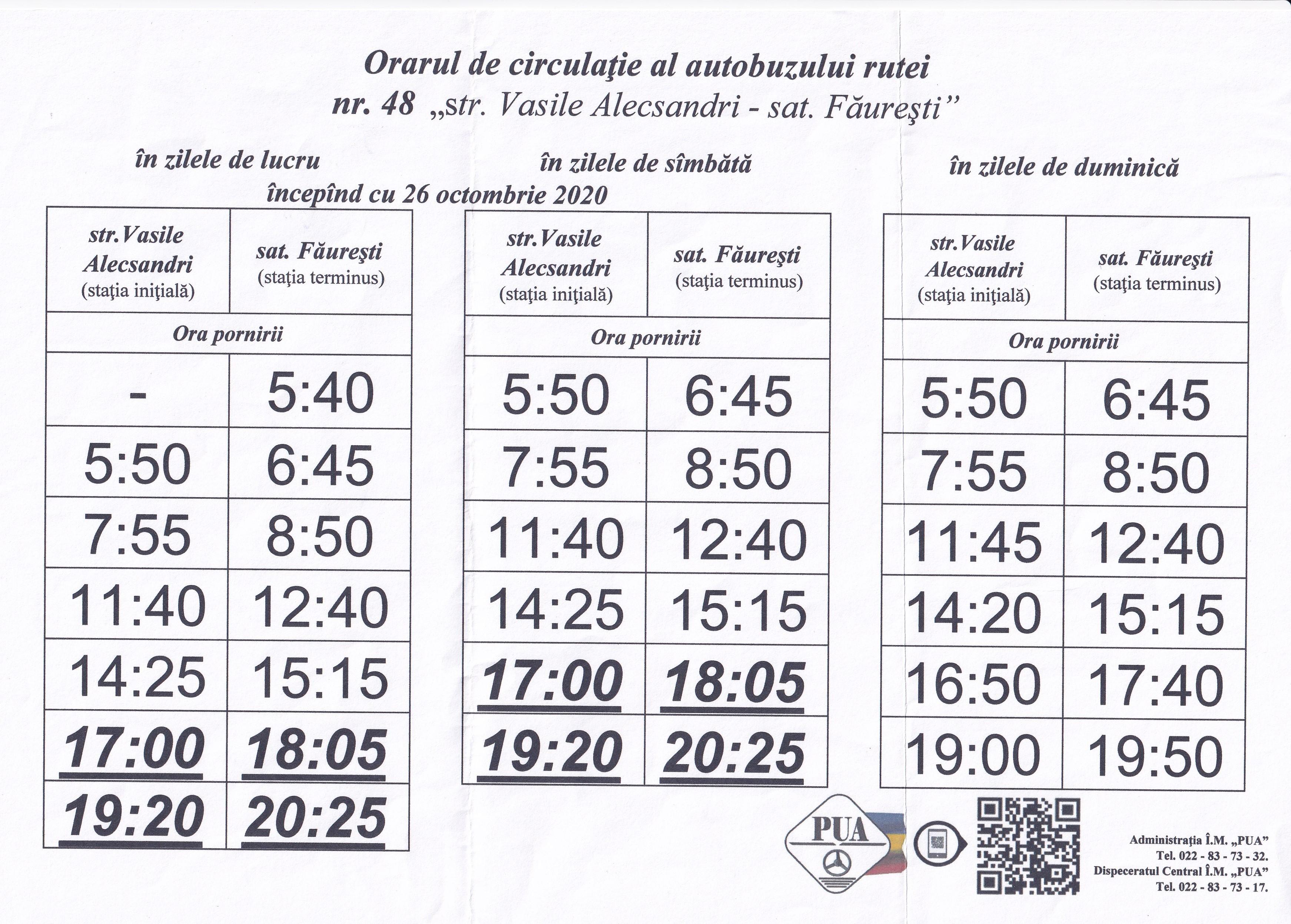 Modificarea orarului de circulație al autobuzului rutei Nr. 48