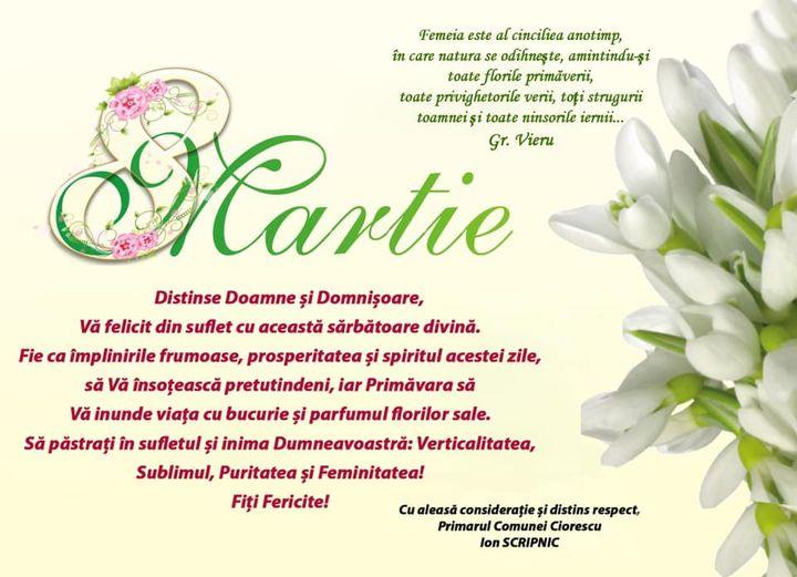 Primăria Ciorescu vă felicită cu ocazia zilei femeilor