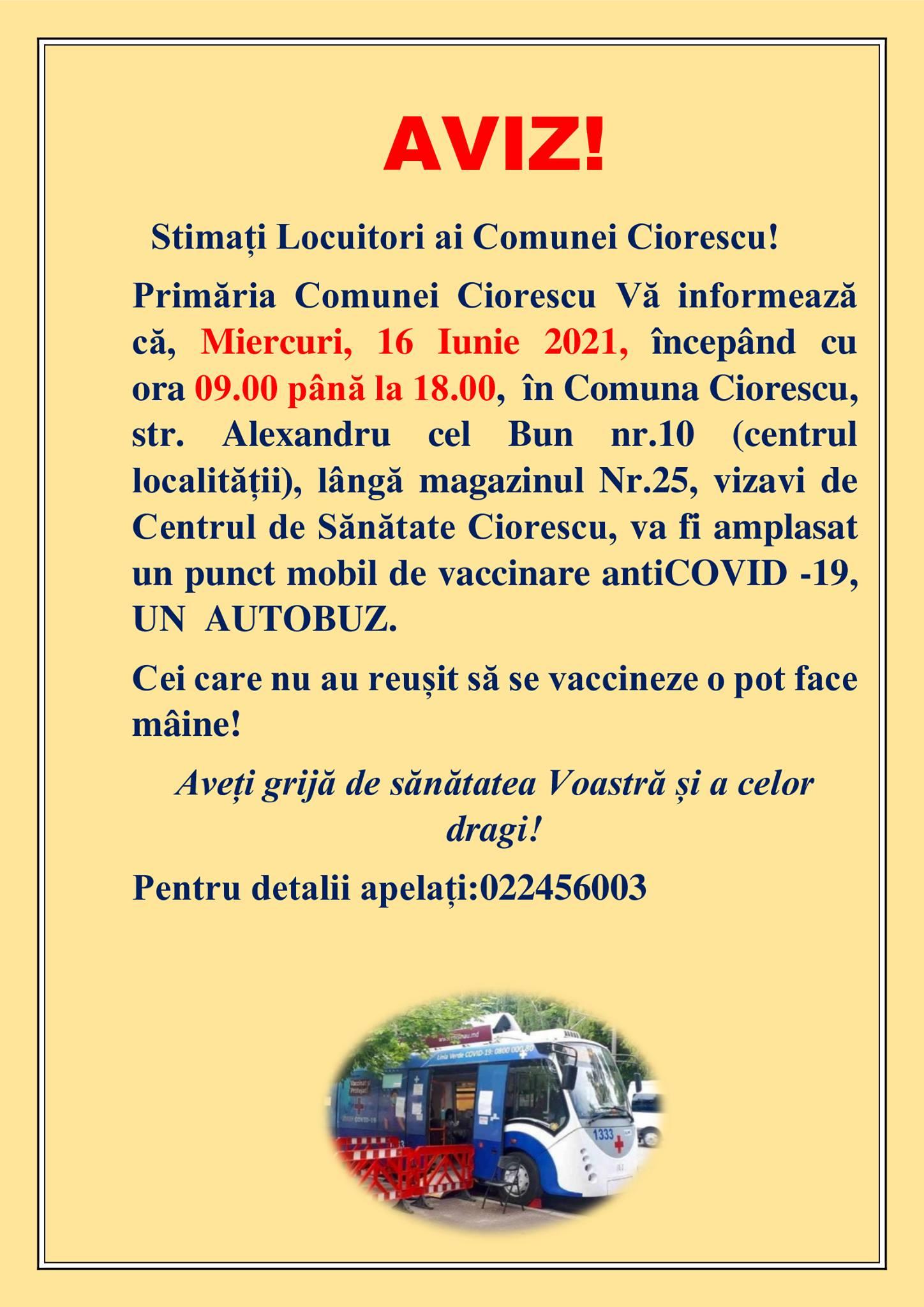 Amplasarea autobuzului antiCovid - 19 în Comuna Ciorescu