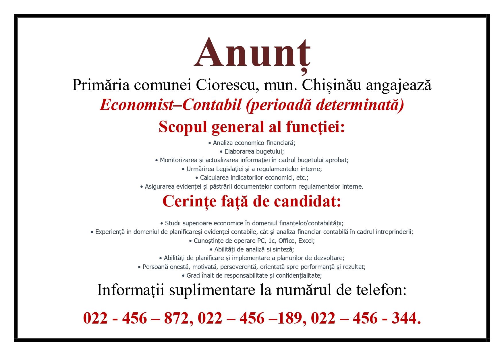 Primăria Ciorescu angajează Economist-Contabil
