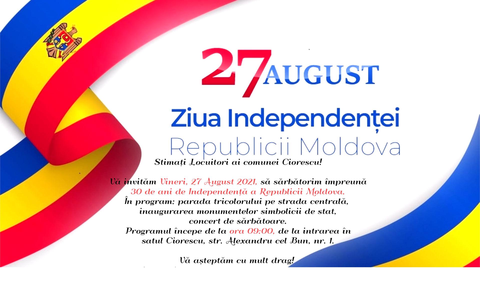 27 August - ziua independenței Republicii Moldova